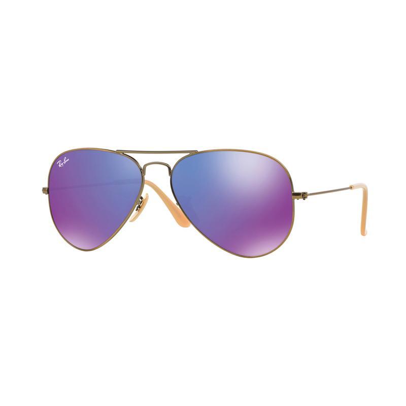 Ray-Ban 167-1M Aviator Large Metal RB3025 Grey Mirror Purple Sunglasses - Brushed Bronze Demi Shiny [Size 58]