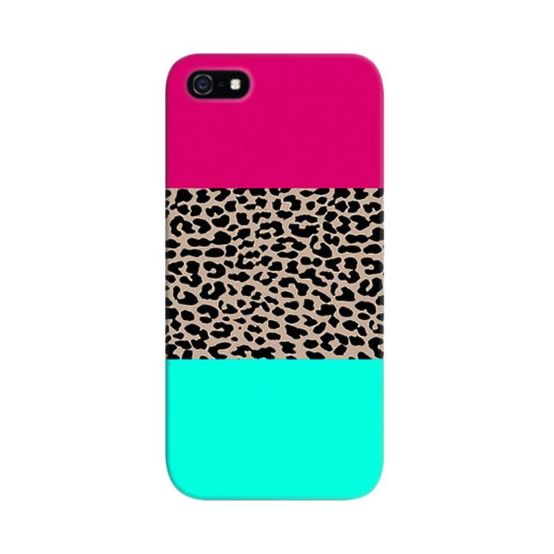 Indocustomcase Leopard National Flag Pink Blue Custom Hardcase Casing for Apple iPhone 5/5S/SE