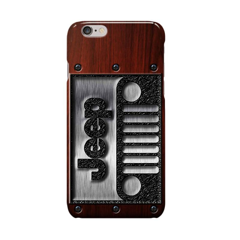 Indocustomcase Jeep Logo On Wood Texture Cover Casing for Apple Iphone 6 Plus or 6S Plus