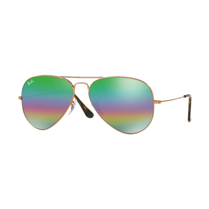 Ray-Ban Aviator Large Metal RB3025 Light Grey Mirror Rainbow 2 Sunglass - Metlallic Medium Bronze [9018C3/ Size 62]