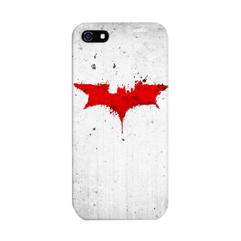 Indocustomcase Batman Grunge Logo White Custom Cover Hardcase Casing for Apple iPhone 5/5S/SE