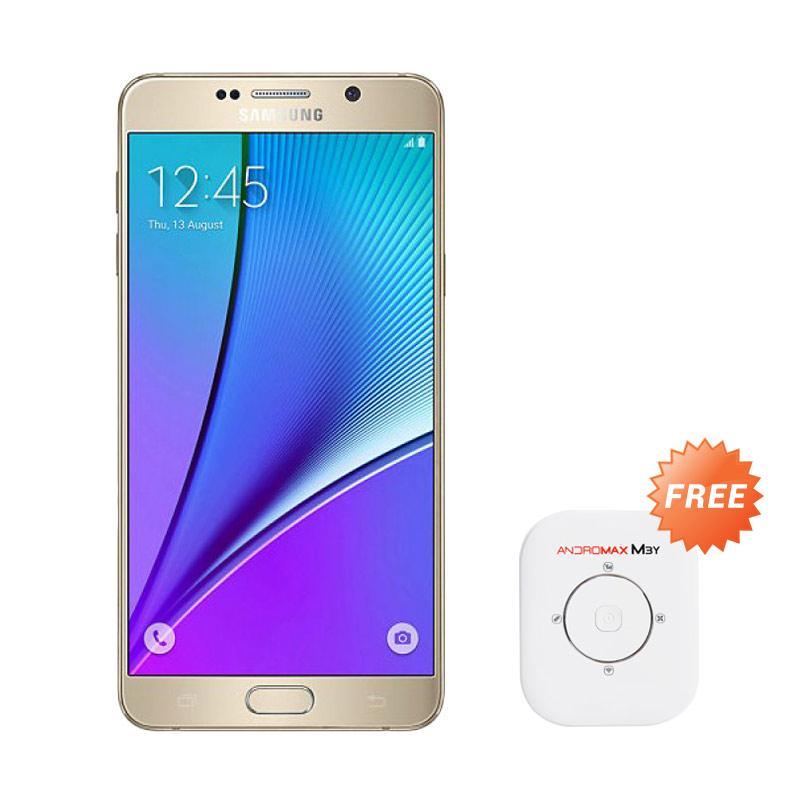 harga Samsung Galaxy Note 5 Gold Smartphone - Gold [32 GB/4 GB] + Free Smartfren Andromax M3Y 4G Modem MiFi - White [30 GB Data] Blibli.com