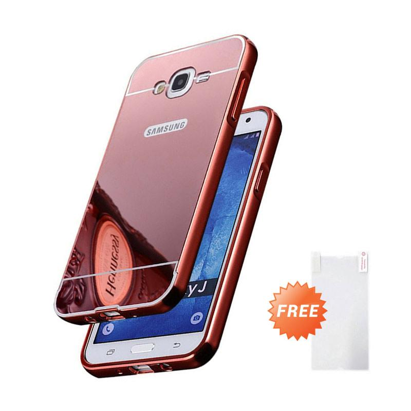 harga Case Bumper Chrome with Backcase Mirror Slide Casing for Samsung Galaxy J5 - Rose Gold