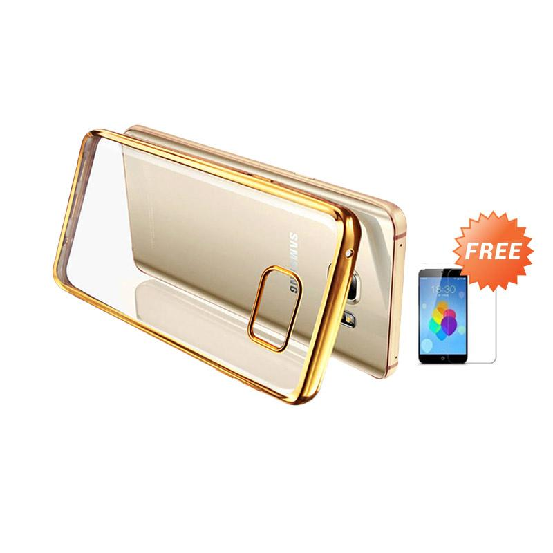 Ultrathin List Chrome Casing for Samsung Galaxy A3 2016 - Gold + Free Temperred Glass Screen Protector