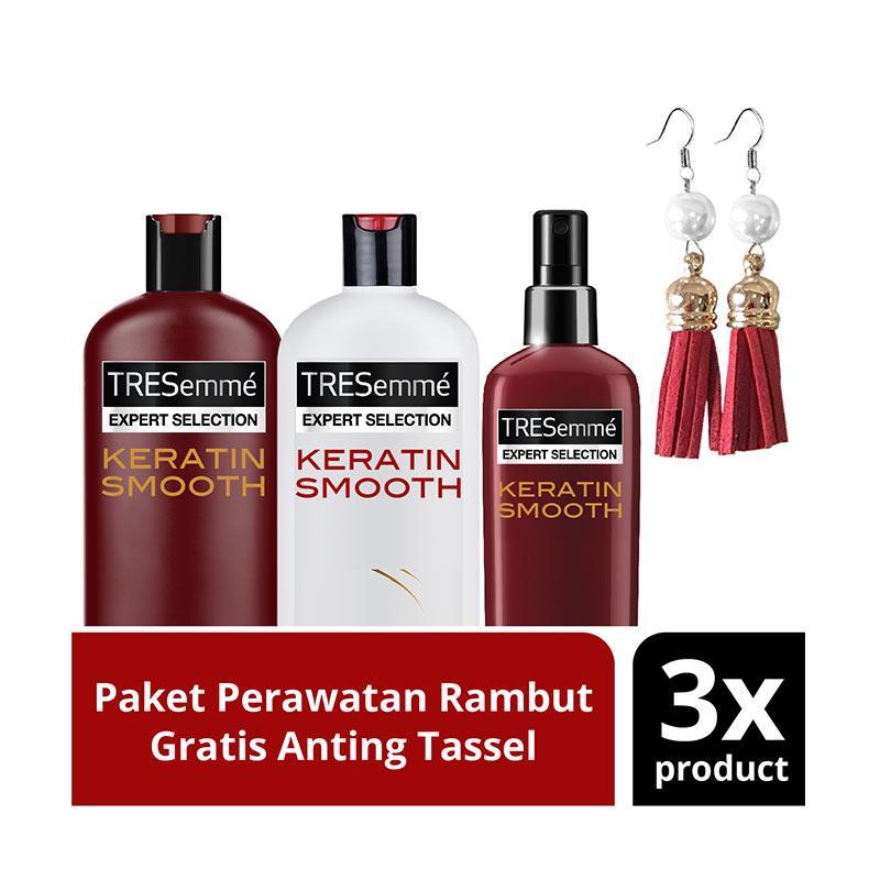 harga Paket TRESemme Keratin Smooth : Shampoo, Conditioner, dan Heat Protectant Spray, + Free Tassel Earing Blibli.com