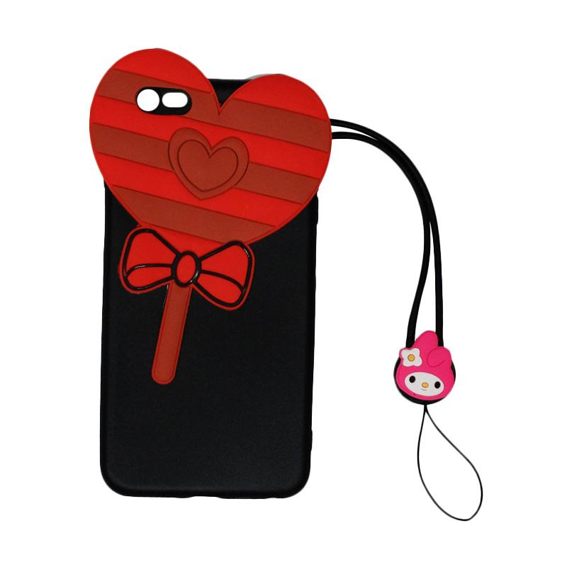 VR 3D Candy Love Edition Silicon Softcase Casing with Kalung Tali Gantungan for Apple iPhone 6 Plus 5.5 Inch - Black