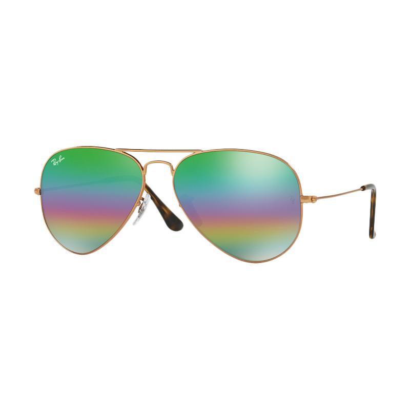 Ray-Ban Aviator Large Metal Rb3025 Metlallic Medium Bronze 9018C3 Sunglasses - Light Grey Mirror Rainbow 2 [Size 58]