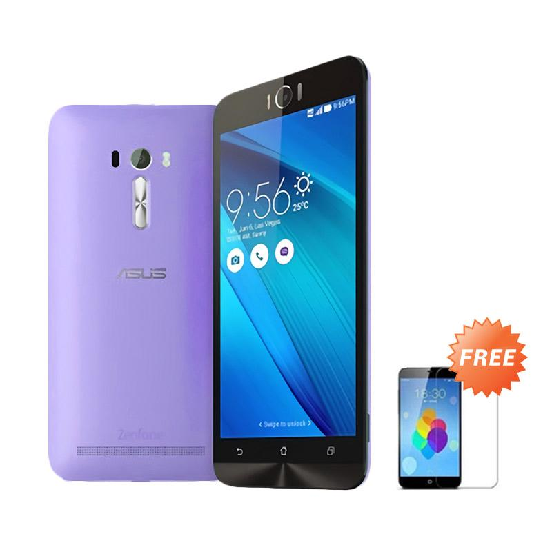 Ultrathin Aircase Casing for Asus Zenfone Laser 5.5 Inch - Purple Clear [Best Seller] + Free Tempered Glass
