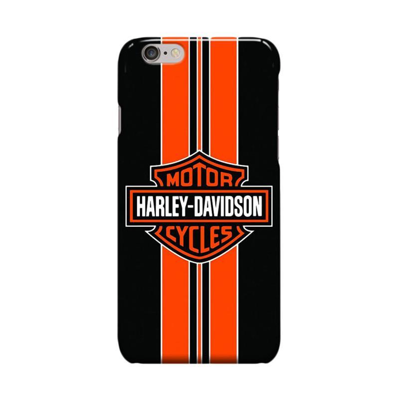 Indocustomcase Harley Davidson Logo Stripe Cover Casing for iPhone 6 Plus or 6S Plus - Orange