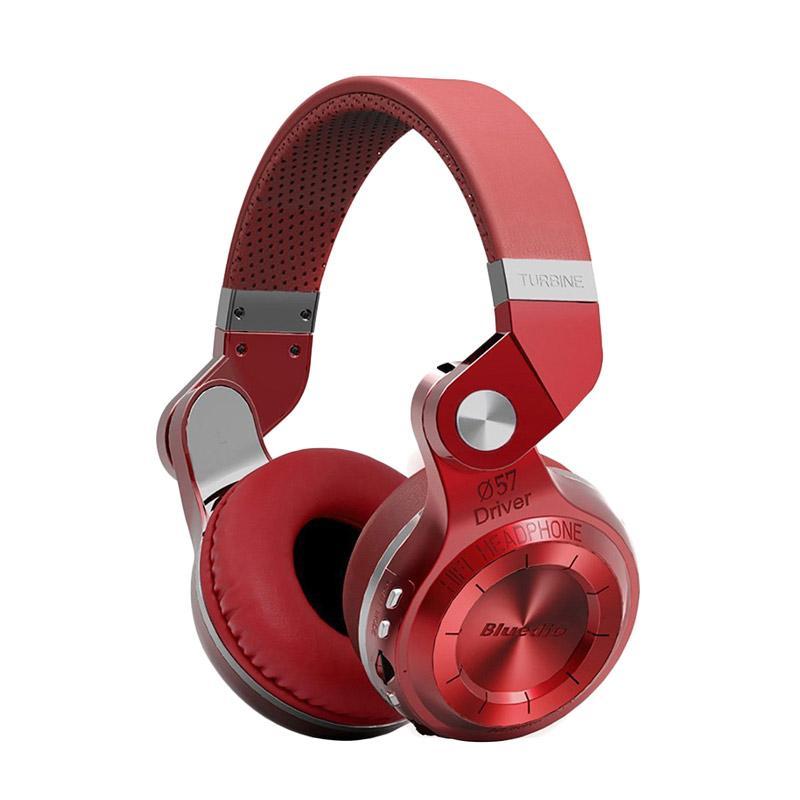 Bluedio Turbine T2 Plus Bluetooth Headset with SD Card Slot and FM Radio Scan Function - Merah [Bluetooth 4.1]