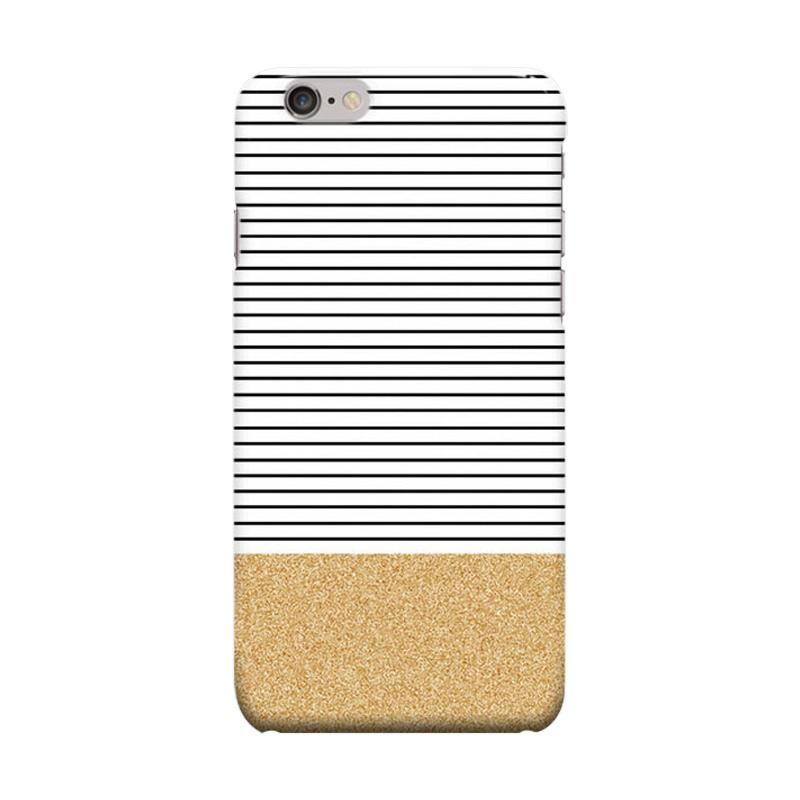 Indocustomcase Minimal Gold Glitter Stripes Cover Casing for Apple iPhone 6 Plus or 6S Plus