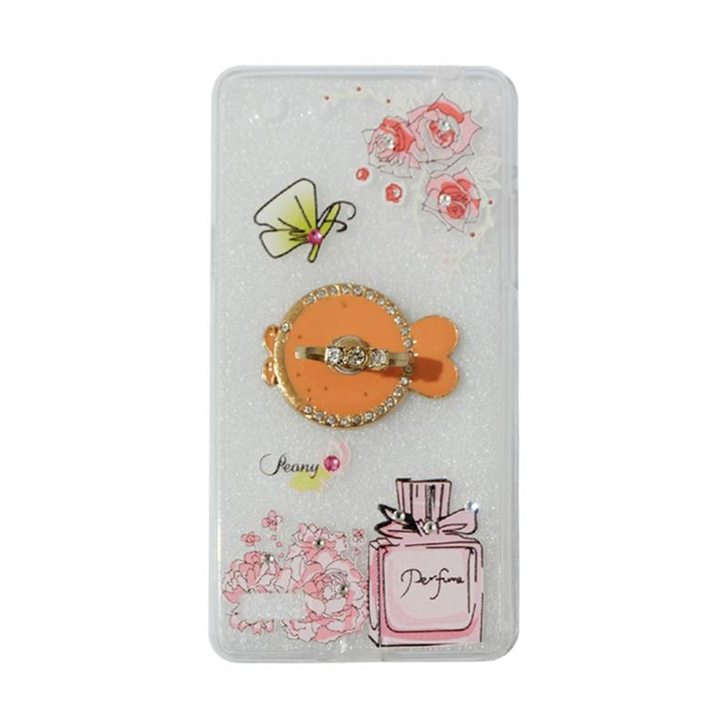 VR Swarovski Perfum 3 Ultrathin Silicone Softcase Casing with Diamond Ring Stand for Oppo A33 or Neo 7