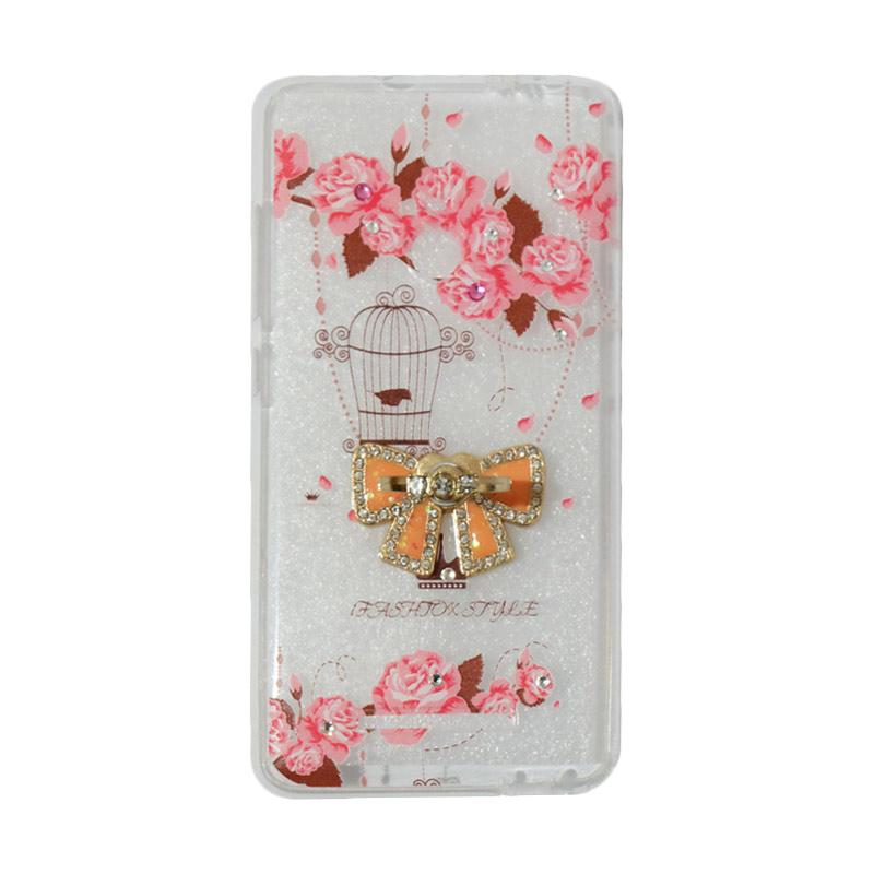 VR Softshell Swarovski Bird 5 Ultrathin Silicone Softcase with Ring Stand Diamond Casing for Xiaomi Redmi 3 Pro