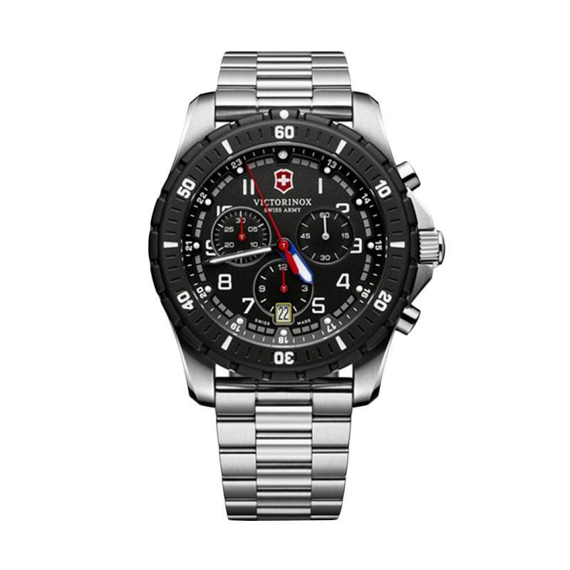 Victorinox Swiss Army Maverick Sport Chronograph Stainless Jam Tangan Pria - - Silver Black [241679]