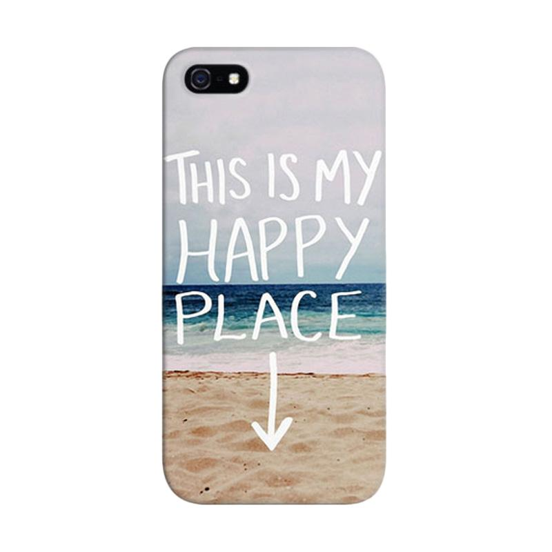 Indocustomcase My Happy Place Hipster Beach Photo Custom Hardcase Casing for Apple iPhone 5/5S/SE