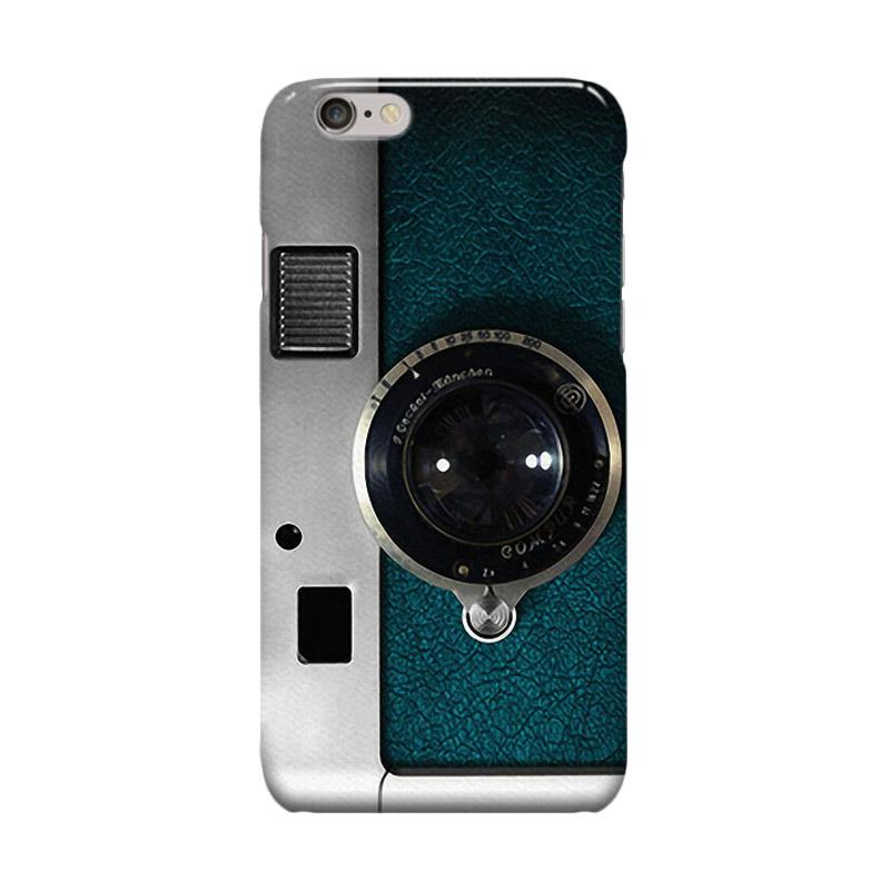 Indocustomcase Retro Blue Teal Leather Silver Camera Cover Casing for iPhone 6 Plus or 6S Plus