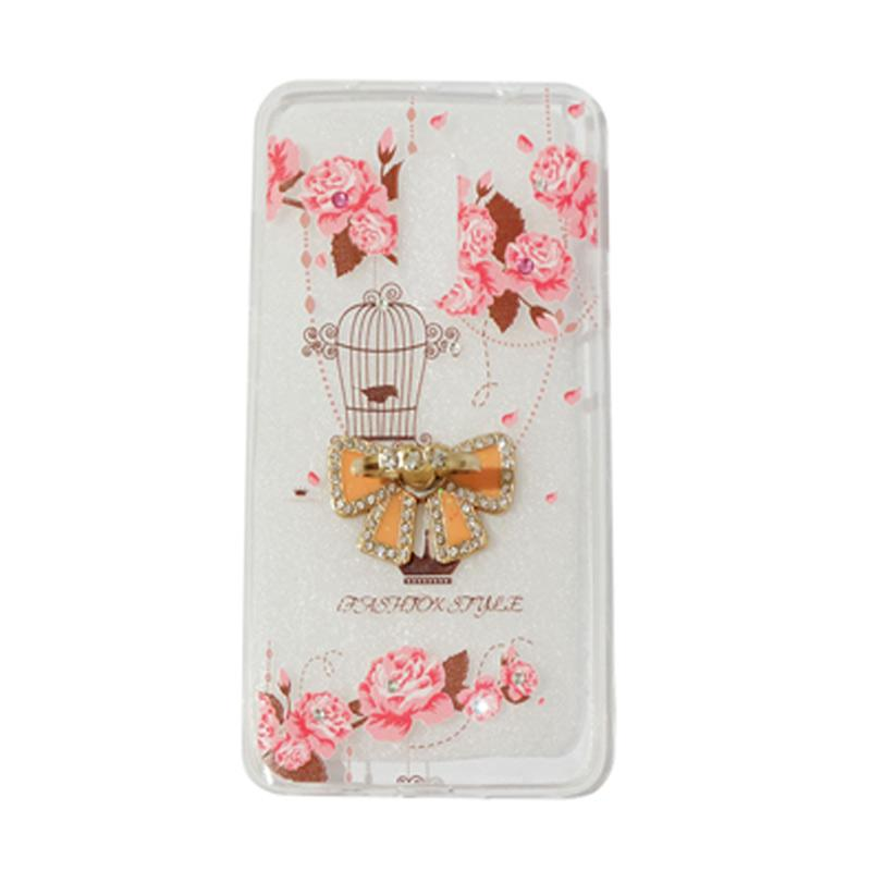VR Swarovski Bird 5 Ultrathin Silicone Softcase Casing With Diamond Ring Stand for Xiaomi Redmi Note 4