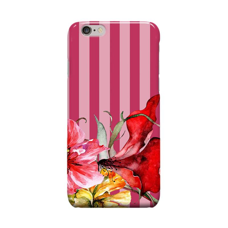 Indocustomcase Botanic FLoral Flower Stripes Casing for Apple iPhone 6 Plus or iPhone 6S Plus