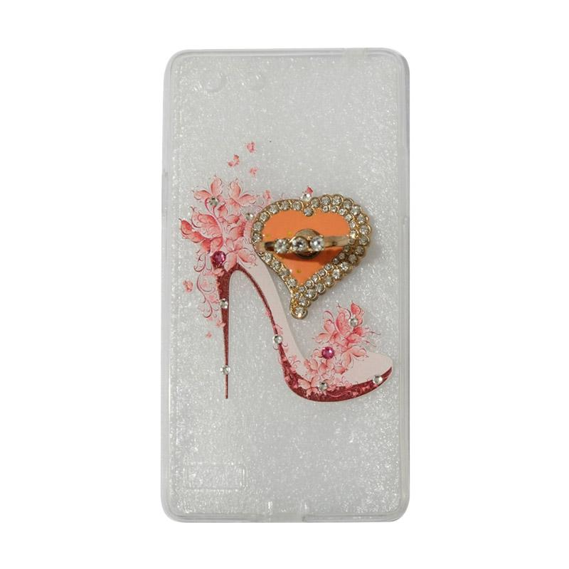 VR Swarovski High Heels 4 Ultrathin Silicone Softcase Casing with Diamond Ring Stand for Oppo A33 or Neo 7