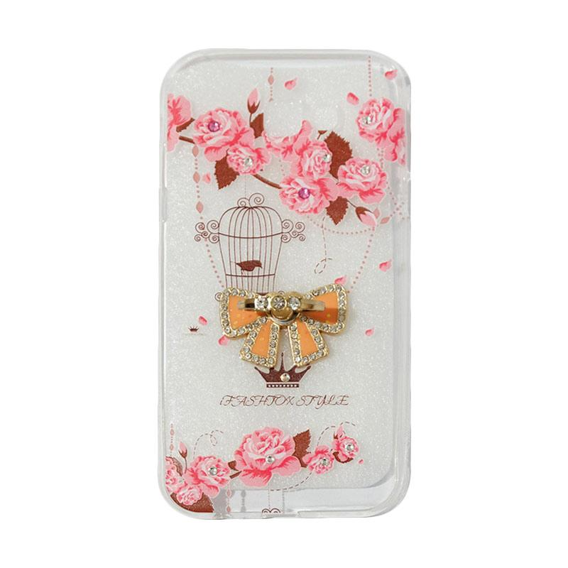 VR Softshell Swarovski Bird 5 With Ring Stand Diamond Ultrathin Softcase Casing for Samsung Galaxy A720 or A7 2017