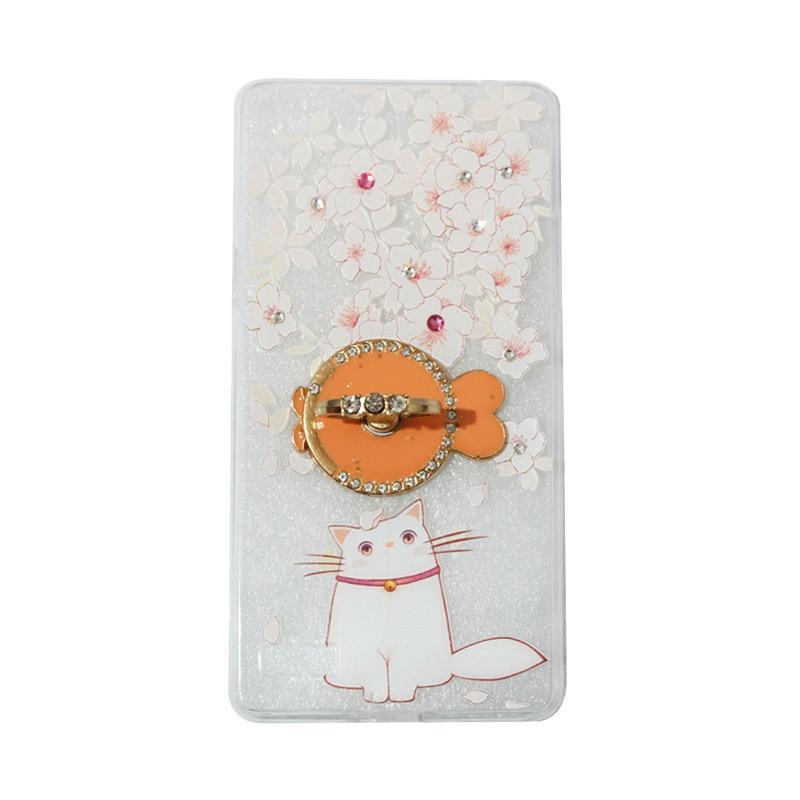 VR Swarovski Cat 7 Ultrathin Silicone Softcase Casing with Diamond Ring Stand for Oppo A33 or Neo 7