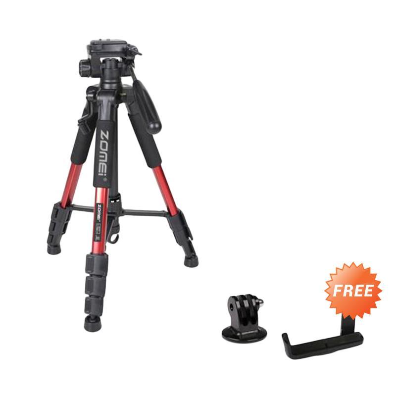 Jual ZOMEI Q111 Camera Tripod for DSLR EOS Canon Nikon Sony Gopro Xiaomi Merah Free Holder