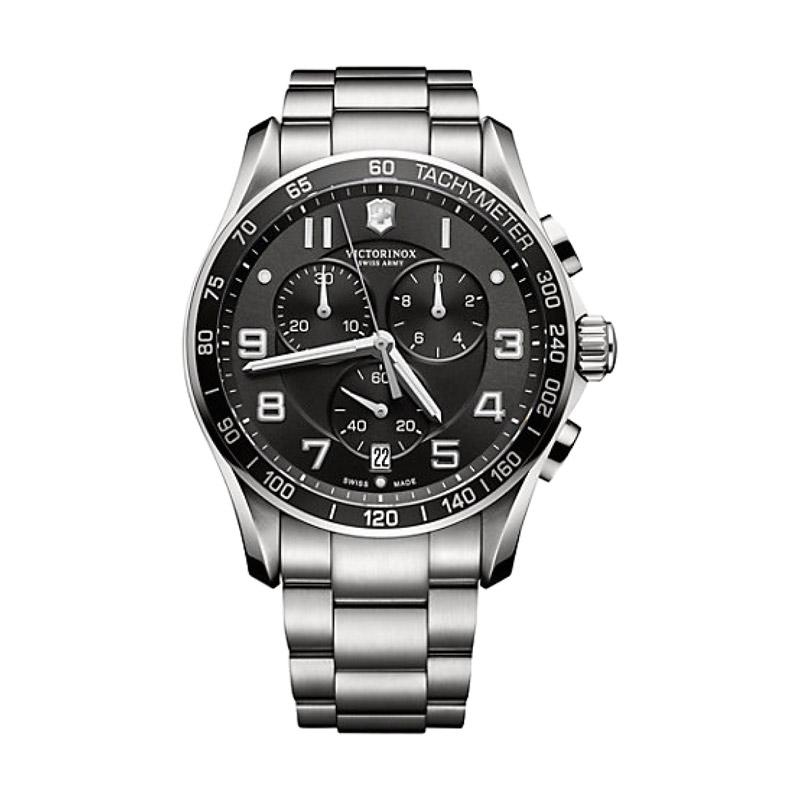 Victorinox Swiss Army Chrono Classic XLS Chronograph Stainless Jam Tangan Pria 241650 - Silver Black