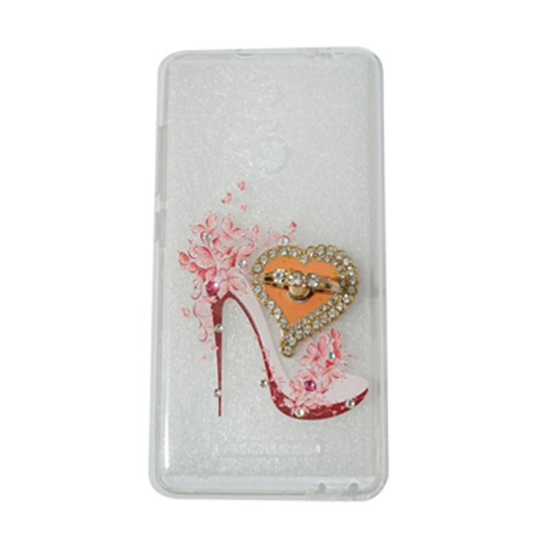 VR Softshell Swarovski High Heels 4 Ultrathin Silicone Softcase with Ring Stand Diamond Casing for Xiaomi Redmi 3s