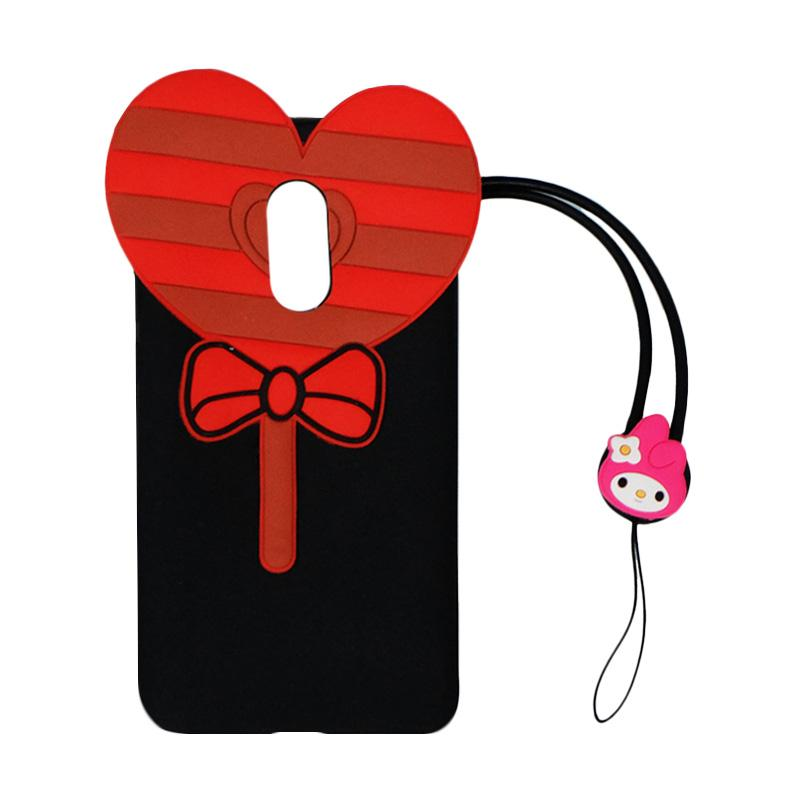 VR Silicon 3D Karakter Candy Love Edition Softcase Casing with Kalung Tali Gantungan for Xiaomi Redmi Note 4 - Black