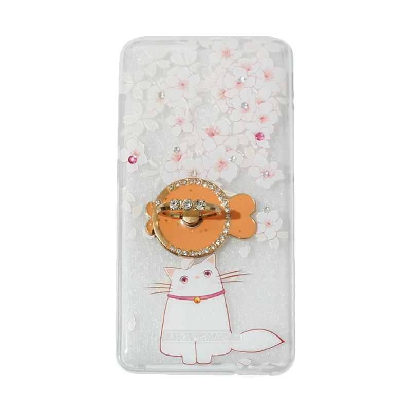 VR Softshell Swarovski Cat 7 Ultrathin Silicone Softcase with Ring Stand Diamond Casing for Xiaomi Redmi 3X