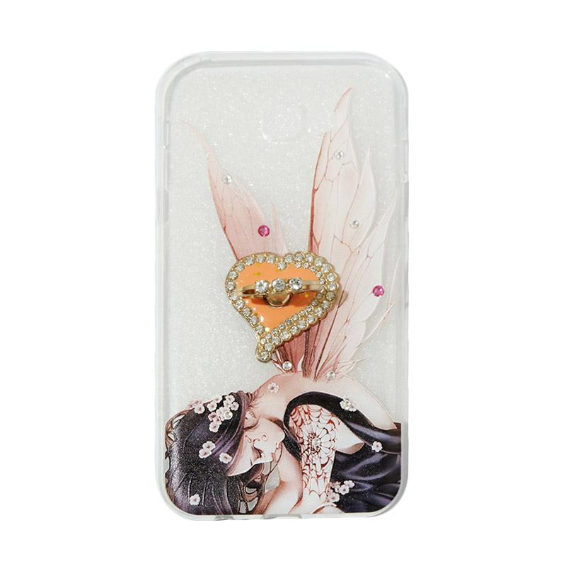 VR Softshell Swarovski Fairy 2 With Ring Stand Diamond Ultrathin Softcase Casing for Samsung Galaxy A720 or A7 2017