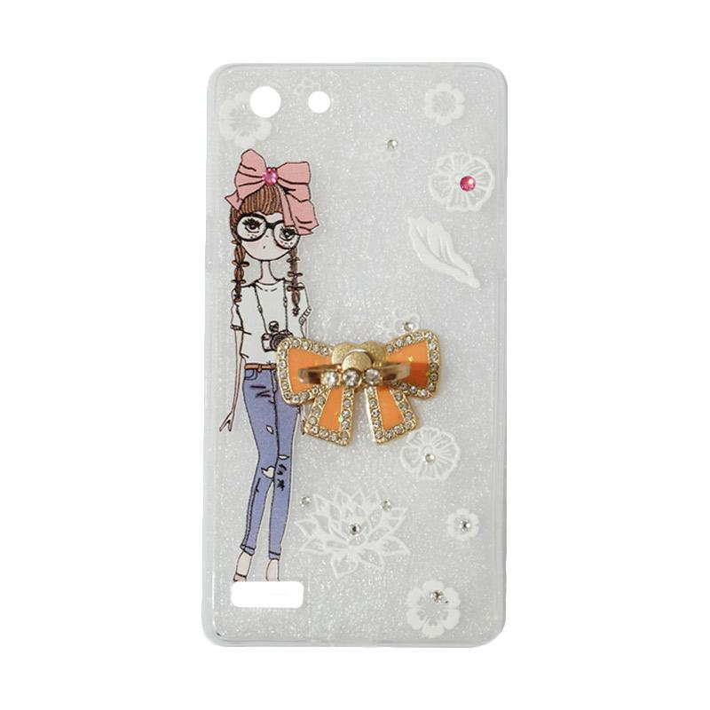 VR Softshell Swarovski Girls 1 Ultrathin Silicone Softcase with Ring Stand Diamond Casing for Oppo A33 or Neo 7