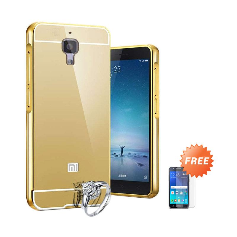 Case Aluminium Bumper Slide Mirror Casing for Xiaomi Mi 4 - Gold [Best Seller] + Free Tempered Glass Screen Protector