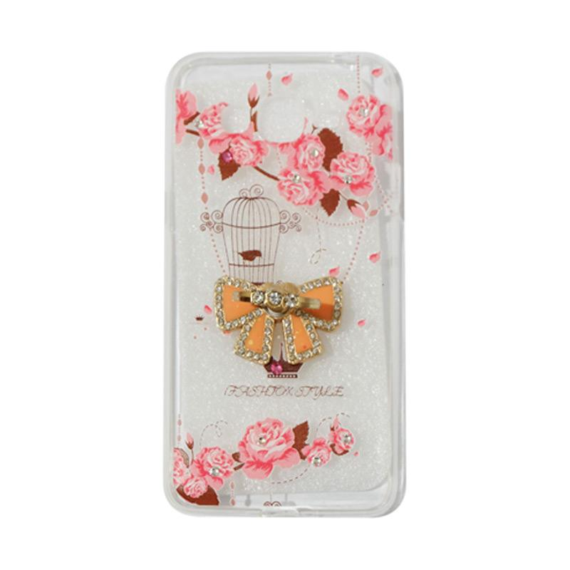 VR Softshell Swarovski Bird 5 Ultrathin Silicone Softcase with Diamond Ring Stand Casing for Samsung Galaxy A520 A5 2017