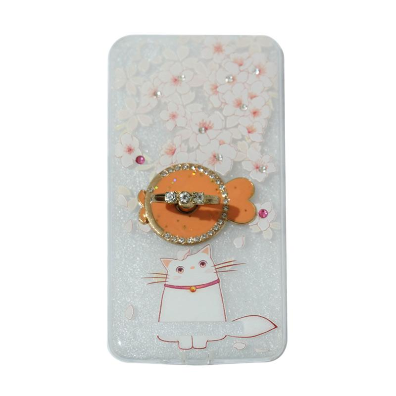 VR Softshell Swarovski Cat 7 Ultrathin Silicone Softcase with Ring Stand Diamond Casing for Xiaomi Redmi 4A