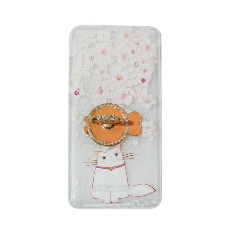 VR Softshell Swarovski Cat 7 Ultrathin Silicone Softcase with Ring Stand Diamond Casing for Xiaomi Redmi 3 Pro
