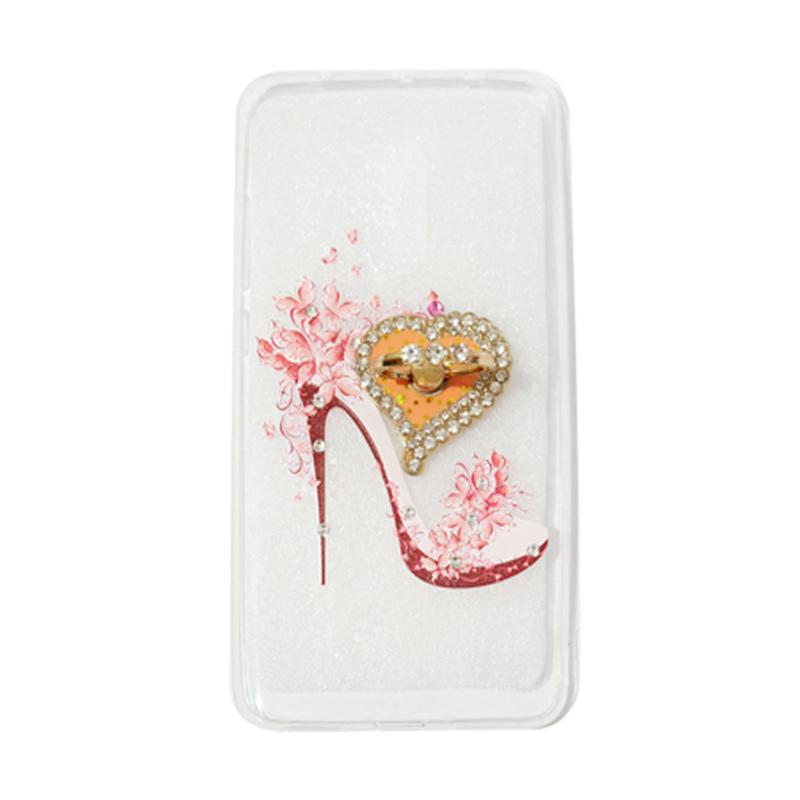 VR Swarovski High Heels 4 Ultrathin Silicone Softcase Casing With Diamond Ring Stand for Xiaomi Redmi Note 4