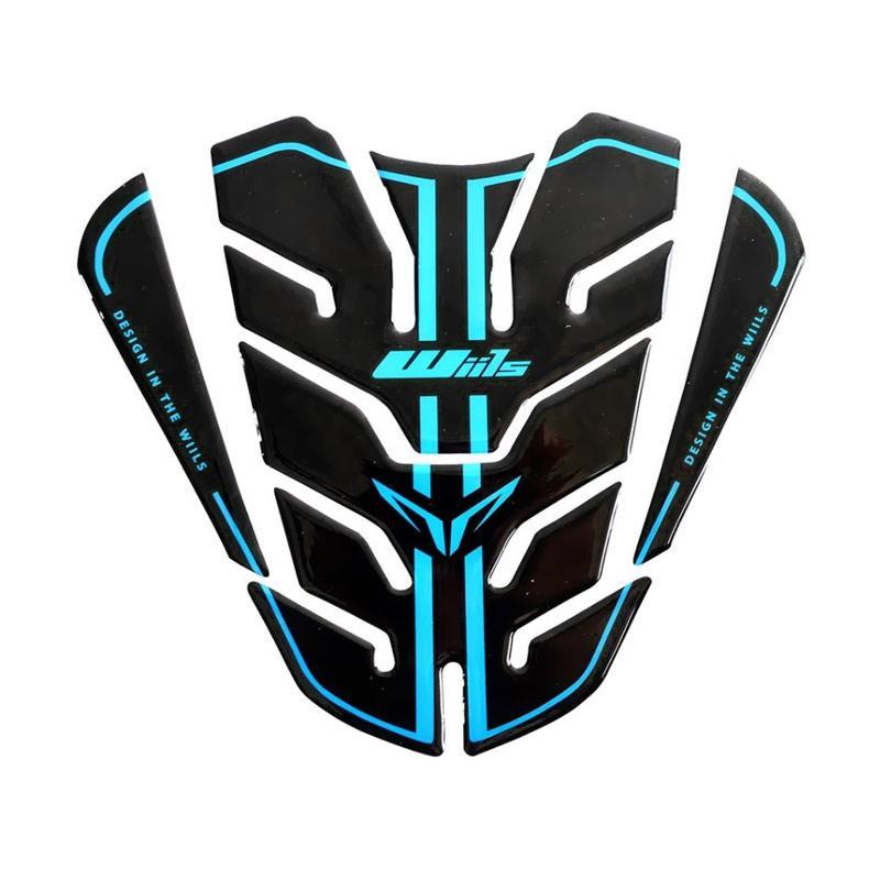 Raja Motor Aksesoris Motor Pelindung Tanki Besar Model Wills Spider Sticker - Hitam- Biru [PET9011-Hitam-Biru]
