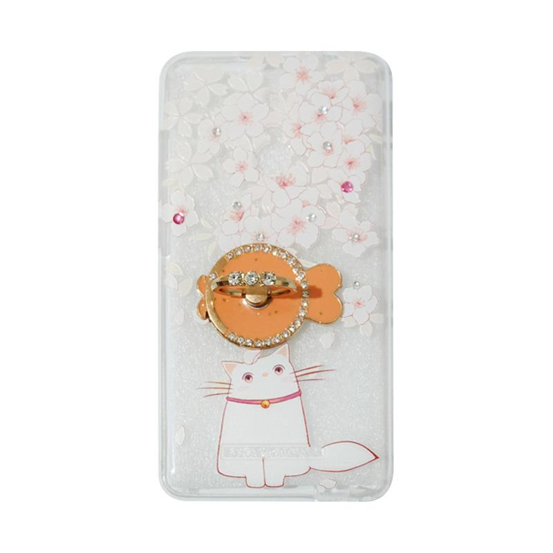 VR Softshell Swarovski Cat 7 Ultrathin Silicone Softcase with Ring Stand Diamond Casing for Xiaomi Redmi Note 3