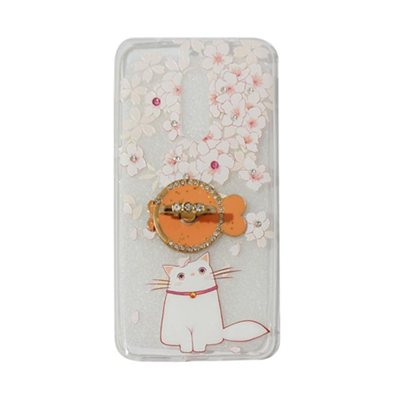 VR Swarovski Cat Kucing 7 Ultrathin Silicone Softcase Casing with Diamond Ring Stand for Xiaomi Redmi Note 4