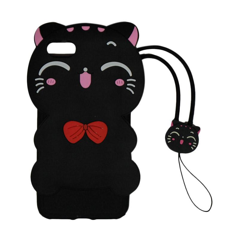 VR Softshell Softcase Silicon Rubber 3D Black Cat Kucing with Kalung Tali Gantungan for iPhone 7 or iPhone 7G 4.7 inch - Black