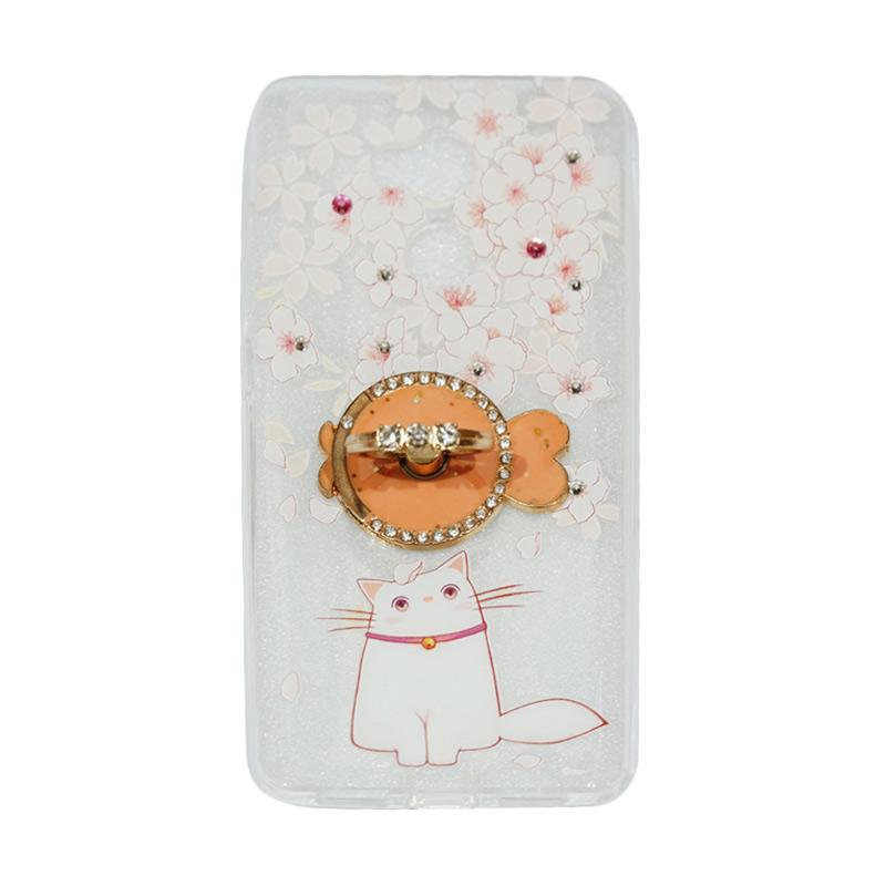 VR Swarovski Cat 7 Ultrathin Silicone Softcase Casing with Diamond Ring Stand for Xiaomi Redmi 4 Prime