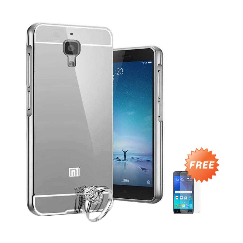 Case Aluminium Bumper Slide Mirror Casing for Xiaomi Mi 4 - Silver [Best Seller] + Free Tempered Glass Screen Protector