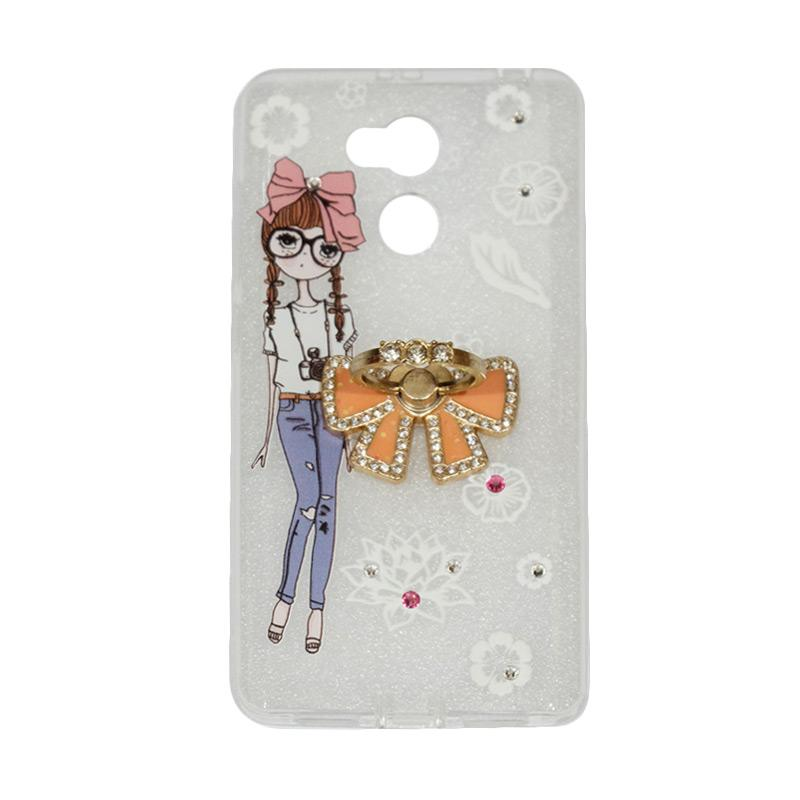 VR Softshell Swarovski Girls 1 Ultrathin Silicone Softcase with Ring Stand Diamond Casing for Xiaomi Redmi 4 Prime