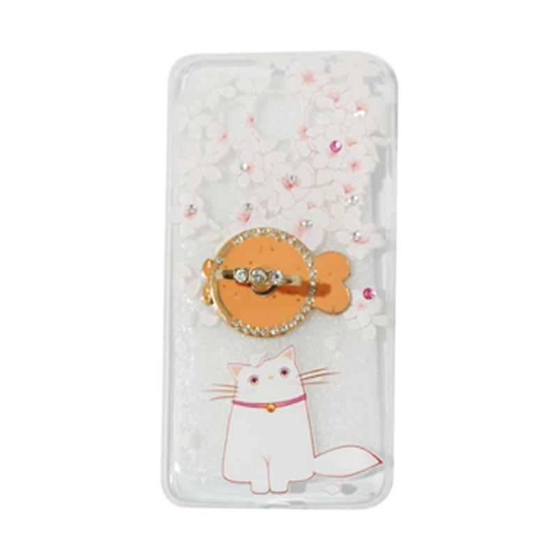 VR Softshell Swarovski Cat 7 Ultrathin Silicone Softcase with Diamond Ring Stand Casing for Samsung Galaxy A320 or A3 2017