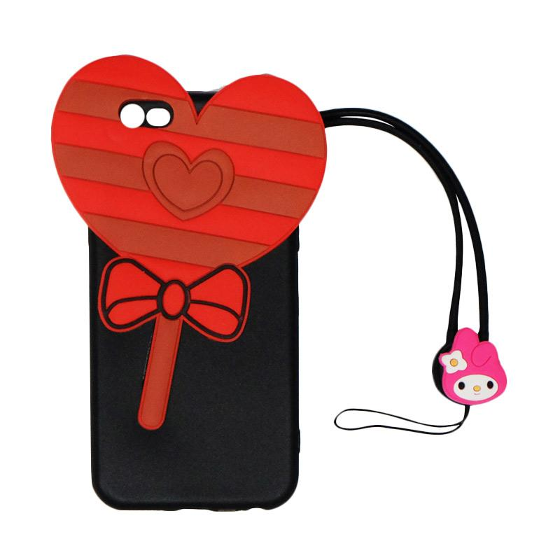 VR 3D Candy Love Edition Silicon Softcase Casing with Kalung Tali Gantungan for Apple iPhone 6/iPhone 6G/iPhone 6S 4.7 Inch - Black