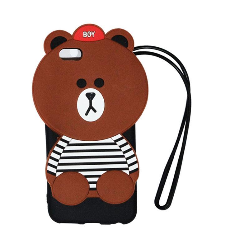 VR Silicon Karakter 3D Boy Bear List Edition Softcase Casing with Tali Gantungan for Apple iPhone 5G / 5S / 5SE - Brown