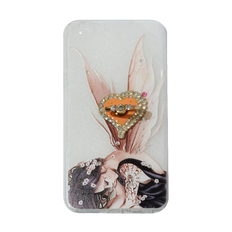 VR Swarovski Fairy 2 Ultrathin Silicone Softcase Casing with Diamond Ring Stand for Oppo F1s Selfie Expert or A59