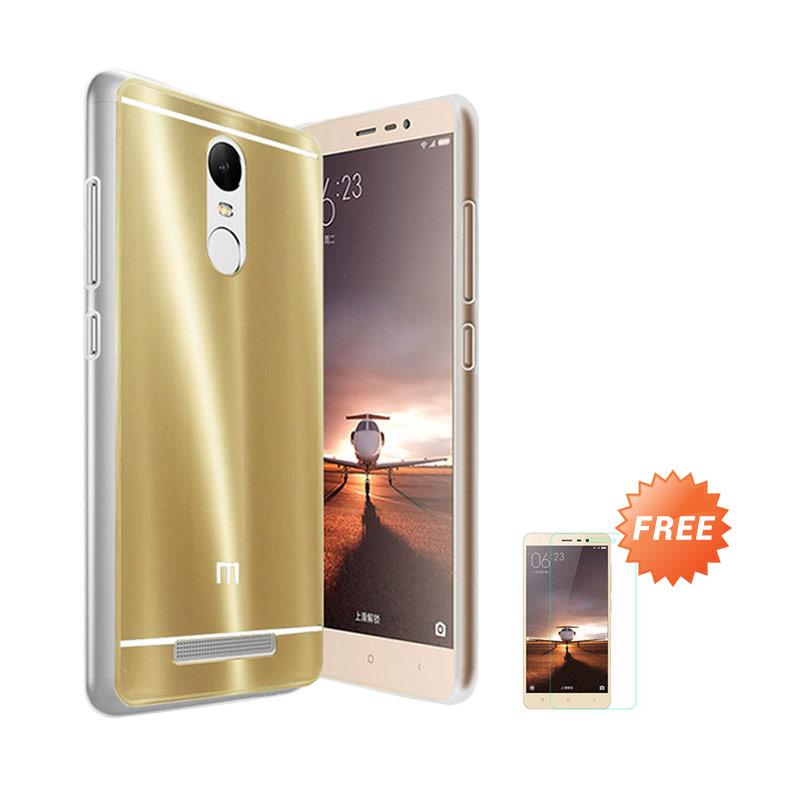 Case Aluminium Bumper Slide Mirror Casing for Xiaomi Redmi Pro - Gold + Free Tempered Glass Screen Protector [Best Seller]
