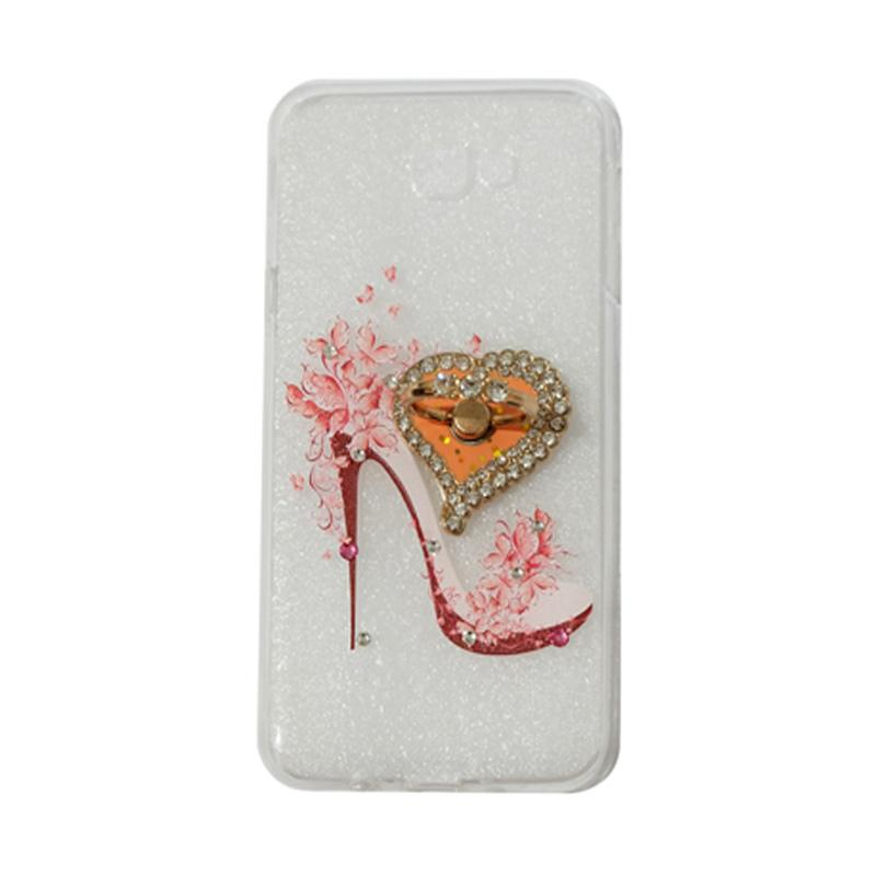 VR Swarovski High Heels 4 Ultrathin Silicone Softcase Casing With Diamond Ring Stand for Samsung Galaxy J5 Prime